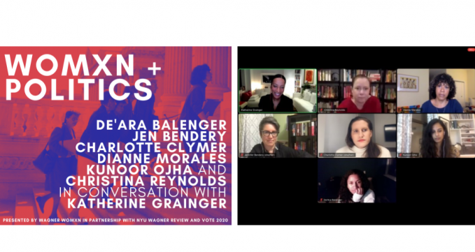 Image of the WOMXN + POLITICS Flyer and a Screen Shot of the Panelists from the Zoom Event